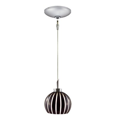 Fabian 1 Light Pendant and Canopy Kit Shade Color: Black and White, Finish: Satin Chrome