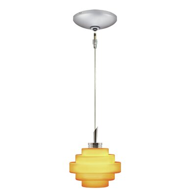 Grace 1-Light Track Pendant Shade Color: Amber, Finish: Satin Chrome