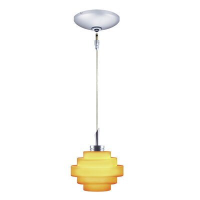 Grace 1-Light Track Pendant Finish: Chrome, Shade Color: Amber