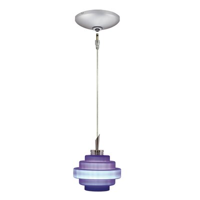 Grace 1-Light Track Pendant Finish: Satin Chrome, Shade Color: Cobalt Blue