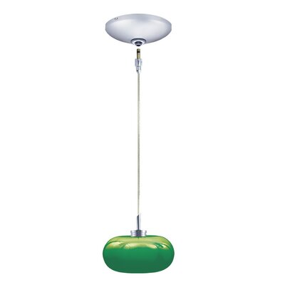 Jolly 1-Light Track Pendant Finish: Chrome, Shade Color: Emerald