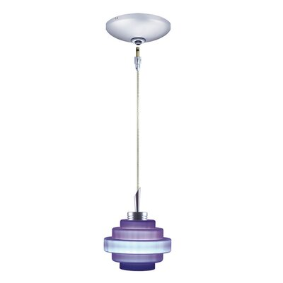 Grace 1-Light Track Pendant Finish: Chrome, Shade Color: Cobalt Blue