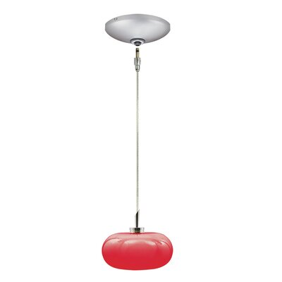 Jolly 1-Light Track Pendant Finish: Satin Chrome, Shade Color: Red