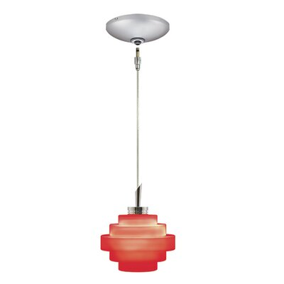Grace 1-Light Track Pendant Finish: Satin Chrome, Shade Color: Red