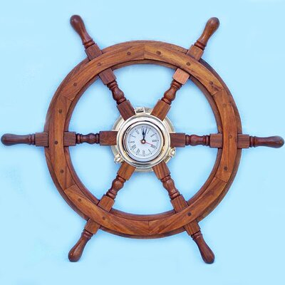 Deluxe Class 22 Oversized Ship Wheel Wall Clock