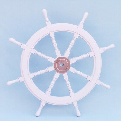 """Handcrafted Model Ships Deluxe Class Ship Steering Wheel Wall Décor - Size: 36"""" H x 36"""" W x 2"""" D, Color: White"""