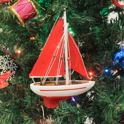 "9"" Wooden Sailboat Model with Red Sails Christmas Tree Ornament Color: Red"