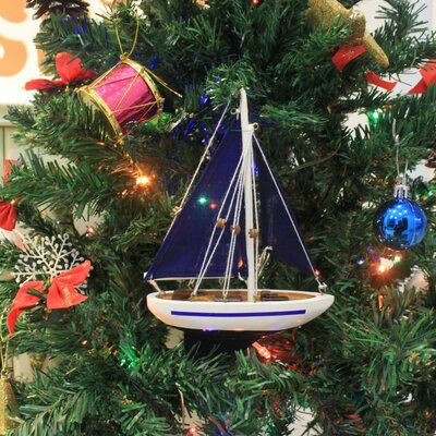 "9"" Wooden Sailboat Model with Red Sails Christmas Tree Ornament Color: Blue"