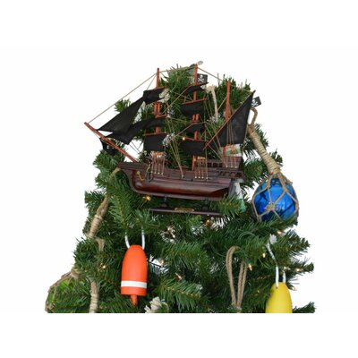 Edward England's Wooden Pearl Pirate Ship Christmas Tree Topper Decoration