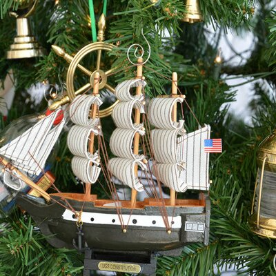 Wooden Constitution Model Ship Christmas Tree Ornament