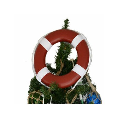 Lifering with White Bands Christmas Tree Topper Decoration Color: Red