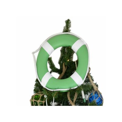 Lifering with White Bands Christmas Tree Topper Decoration Color: Green
