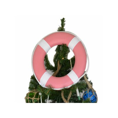 Lifering with White Bands Christmas Tree Topper Decoration Color: Pink