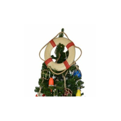 Vintage White Lifering with Rope Christmas Tree Topper Decoration Rope Color: Red