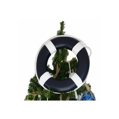 Lifering with White Bands Christmas Tree Topper Decoration Color: Dark Blue
