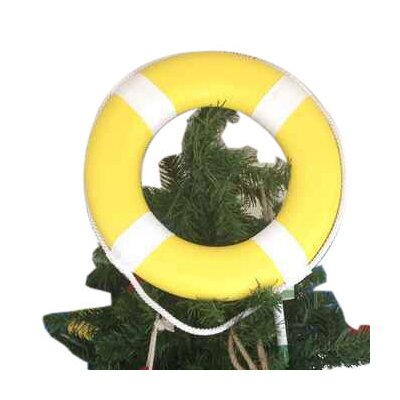 Lifering with White Bands Christmas Tree Topper Decoration Color: Yellow