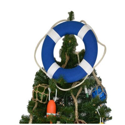 Vibrant Blue Lifering with White Bands Christmas Tree Topper Decoration Color: Blue