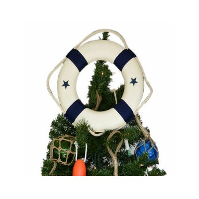 White Lifering with Red Bands Christmas Tree Topper Decoration Bands Color: Blue