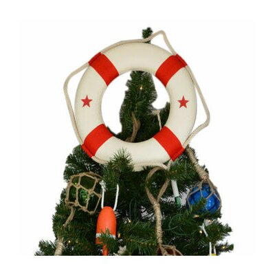 White Lifering with Red Bands Christmas Tree Topper Decoration Bands Color: Red