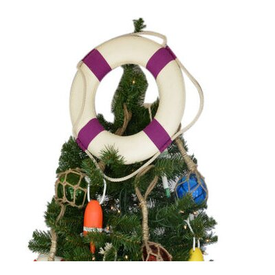 White Lifering with Bands Christmas Tree Topper Decoration Bands Color: Purple