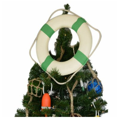 White Lifering with Bands Christmas Tree Topper Decoration Bands Color: Green