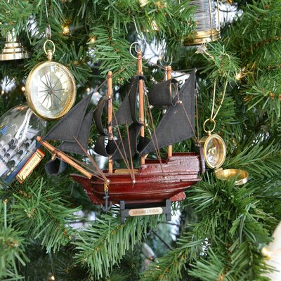 Wooden Queen Anne's Revenge Model Ship Christmas Tree Ornament