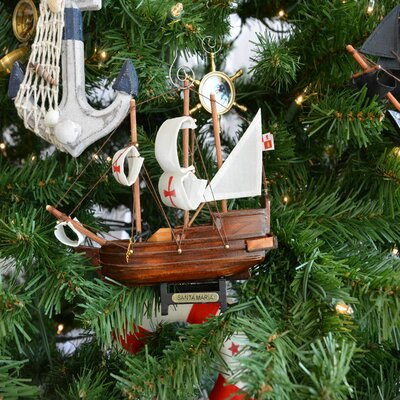 Santa Maria Wooden Model Ship Christmas Tree Ornament