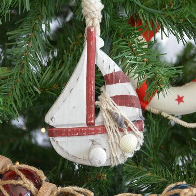 Wooden Rustic Sailboat Model Christmas Tree Ornament Color: Red