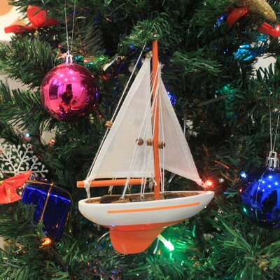 "9"" Wooden Sailboat Christmas Tree Ornament Color: Orange"