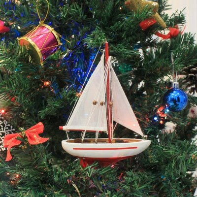 "9"" Wooden Sailboat Christmas Tree Ornament Color: Red"