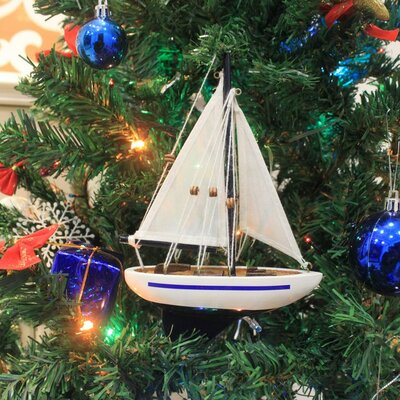 "9"" Wooden Sailboat Christmas Tree Ornament Color: Blue"