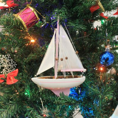 "9"" Wooden Sailboat Christmas Tree Ornament Color: Pink"