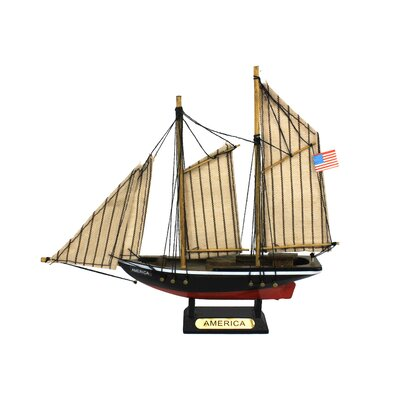 Wooden America Model Decorative Sailboat America 7