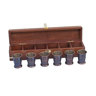 Anchor Shot Glasses With Rosewood Box MC-2110-AC
