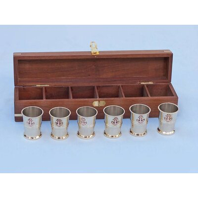 Anchor Shot Glasses With Rosewood Box MC-2110-BR