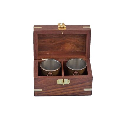 Anchor Shot Glasses With Rosewood Box MC-2114-AN