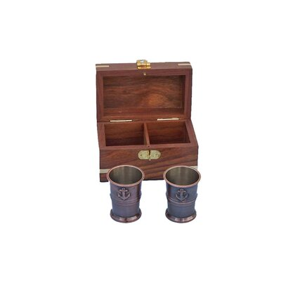 Anchor Shot Glasses With Rosewood Box MC-2114-AC
