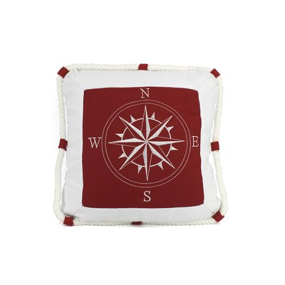 Compass with Nautical Rope Decorative Throw Pillow Color: Red