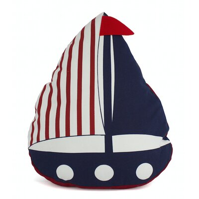 American Sailboat Nautical Decorative Pillow Color: Red