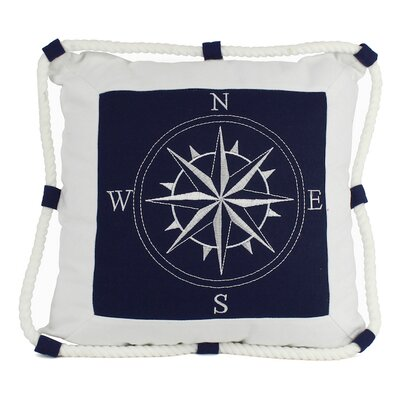 Compass With Nautical Rope Pillow Cover Color: Blue