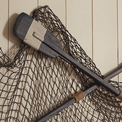 Wooden Rowing Boat Oar with Hooks Wall Décor