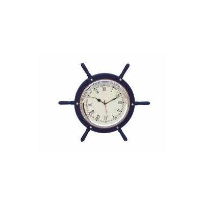 15'' Wooden Ship Wheel Wall Clock Finish: Black