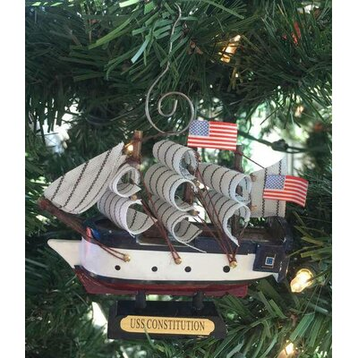 Wooden Constitution Tall Model Ship Christmas Ornament