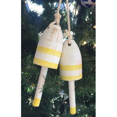 Wooden Decorative Maine Lobster Trap Buoy Christmas Ornament Color: Vintage Yellow