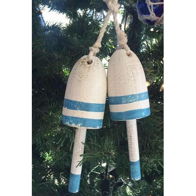 Wooden Decorative Maine Lobster Trap Buoy Christmas Ornament Color: Vintage Light Blue