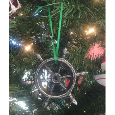 Ship Wheel Decorative Christmas Ornament Color: Antique Silver