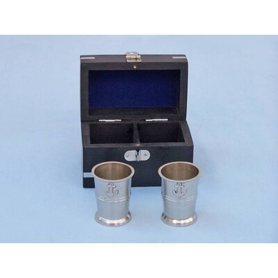 Anchor Shot Glasses With Rosewood Box MC-2114-BN