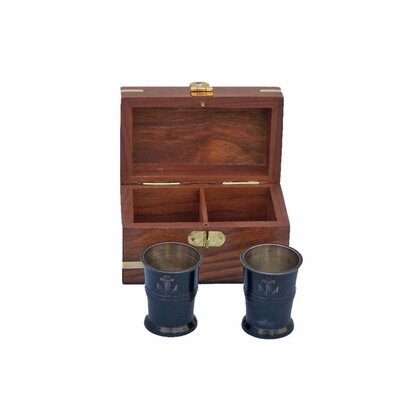 Anchor Shot Glasses With Rosewood Box MC-2114-Black