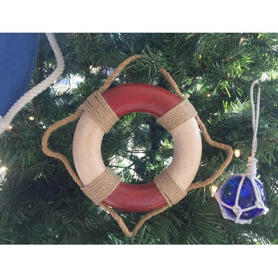 Decorative Life Ring Christmas Ornament Color: Antique Red/White