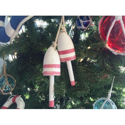 Wooden Decorative Maine Lobster Trap Buoy Christmas Ornament Color: Vintage Dark Red